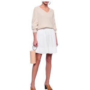Vince white pleated mini skirt